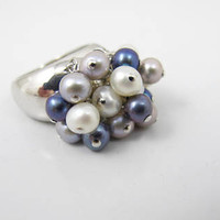 Honora Pearl Ring, Dangle Cluster Sterling Silver, Blue, Gray, White Freshwater Cultured Pearls, Size 8 Cocktail Ring