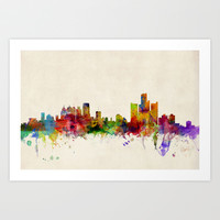 Detroit Michigan Skyline Art Print by artPause