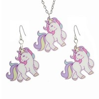 Kawaii Pastel Rainbow Unicorn Necklace & Earrings