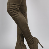 Suede Pointy Toe Stiletto Over-The-Knee Boots