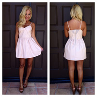 Tough Luck Leather Party Dress - Pale Pink