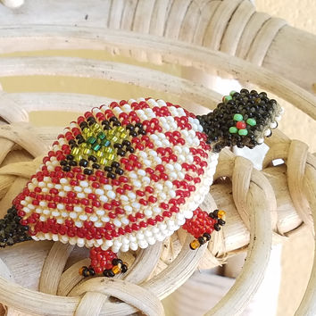 "Antique Native American Miniature Woven Glass Seed Beads Art Turtle Figurine ""Mother Earth"" Symbolism and Long Life"