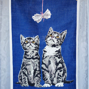 Vintage Tea Towel Irish Linen Cute Kittens Kitchen Towel Navy Blue with white, grey, black and pink