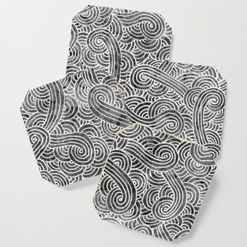 Grey and white swirls doodles Coaster by savousepate
