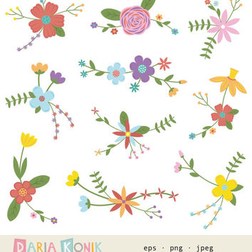 Flower Bouquet Clip Art Set-flowers, blossoms, foliage, instant download, colorful, scrapbooking, card making, clipart, vector, png, jpeg