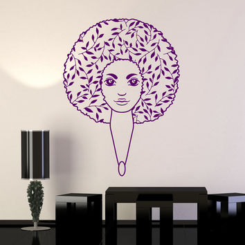 Vinyl Wall Decal Afro Hairstyle Leaves Beauty Salon Beautiful Woman Stickers Mural Unique Gift (ig5000)