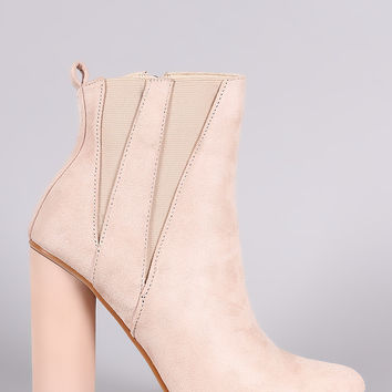 Suede Pointy Toe Round Heeled Ankle Boots