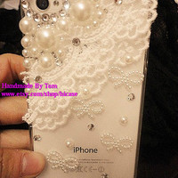 Bling pearl lace iphone 5s case iphone 5c case iphone 5 case iphone 4 4s case samsung galaxy s4 case galaxy s4 mini s3 note 2 note 3 case
