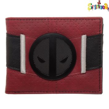 Red and Black Deadpool Uniform BiFold Wallet, Marvel Anti-Hero Costume Style Wallet, ID Holder