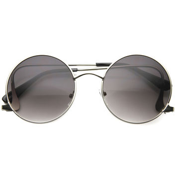 Women's Retro 1950's Low Temple Round Metal Sunglasses A065