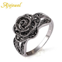Ajojewel Vintage Retro Style Crystal Rhinestone Black Flower Finger Ring For Women  Brand White Gold Plated Jewelry Fashion