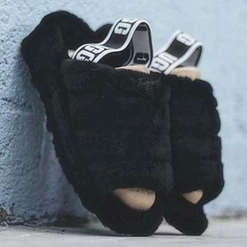 """""""UGG"""" Hight Quality Trending Women Stylish Fluff Yeah Slippers Shoes Black I/A"""