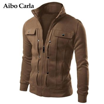 Mens Autumn Jackets Basic Coats Solid Color Male Casual Stand Collar bomber Jacket Slim Fit Zipper Cotton Outerwear coat 2018