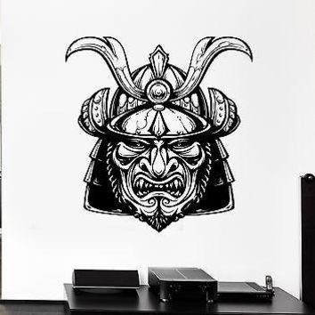 Wall Decal Warrior Japan Head Grin Helmet Anger Killer Vinyl Stickers Unique Gift (ed084)