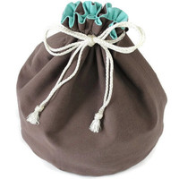 Aqua & Brown Denim Toy Bag Summer Travel Tote Medium Bucket Bag Home School Block Storage Mini Laundry Tote --US Shipping Included