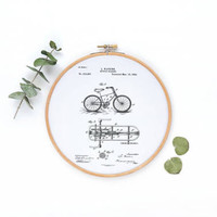 Vintage Bicycle Canvas Wall Decor| Hoop Wall Decor| Wooden Hoop Canvas Print| Canvas Hoop Decor| Fabric Canvas Art| Wall Art