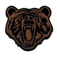 "Embroidered Iron On Patch - Roaring Brown Bear 4"" x 3.5"" Patch"