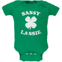 St. Patricks Day - Sassy Irish Lassie Kelly Green Soft Baby One Piece