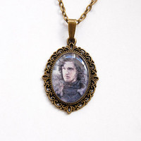 Jon Snow (Kit Harington) - Game of Thrones Jewelry - Handmade Vintage Cameo Pendant Necklace