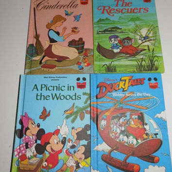 Disney Wonderful World of Reading 4 Books Cinderella DuckTales Rescuers