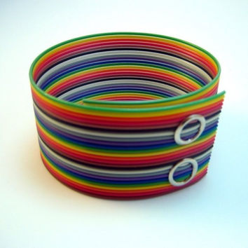 Recycled Computer Part Jewelry Rainbow Ribbon Cable Cuff  Bracelet