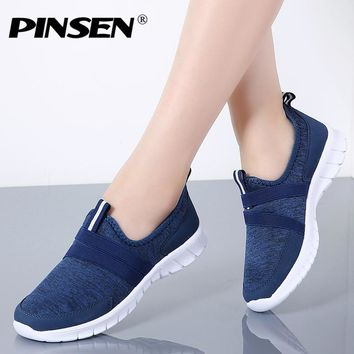 PINSEN 2018 Autumn Sneakers Women Breathable Mesh Shoes Woman Ballet Slip On Flats Loafers Ladies Shoes Creepers tenis feminino