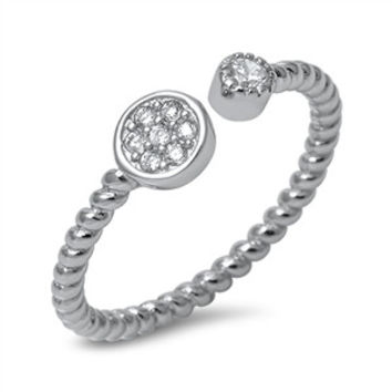 925 Sterling Silver CZ Simulated Diamond Twisted Rope Effect Split Ring 6MM