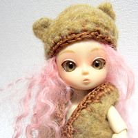 small doll hat, bjd doll, bear hat, and vest set, needle felted, brown teddy bear, accessory set
