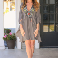 Lovestitch Embroidered Dress - Grey