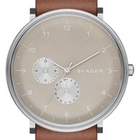 Skagen 'Hald' Multifunction Leather Strap Watch, 40mm