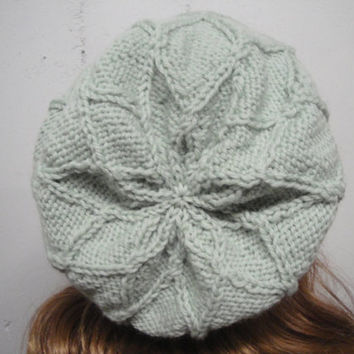 Sage Green Slouch Hat with Diamond Pattern, Slouchy Beanie, Textured Hat, Unusual, Hand Knit