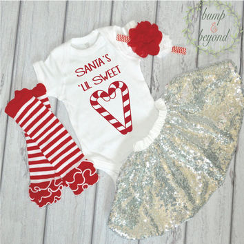 Baby Girl Christmas Outfit One Year Old Girl Christmas Outfit Bodysuit Headband Silver Sequin Skirt Candy Cane Leg Warmers  018