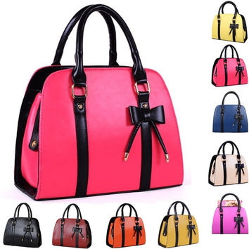 Hot Sale Women Bowknot Tote Bags Ladies Candy Color Leather Handbags Removable Strap Shoulder Bags Top Zipper Closure Bags = 1958648132