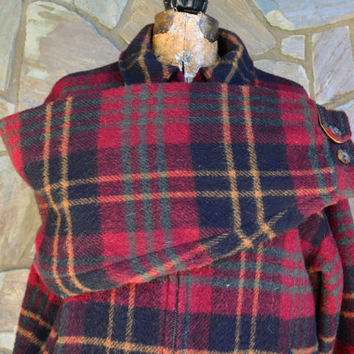 Vintage Wool  Jacket – WOOLRICH Heavy Coat - Fully Lined Plaid Jacket  - Mens Size Large Plaid Jacket –  Winter Coat - by Vintassentials