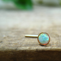 Nose & Tragus Stud White Opal Gold