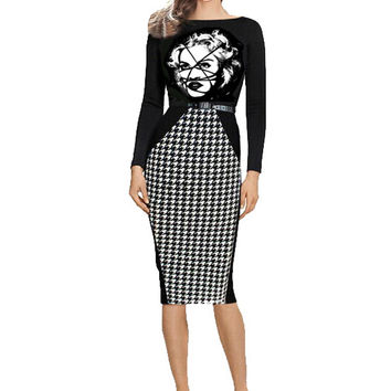 Bodycon Madonna Bondage Long Sleeve Dress