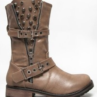 ROCKER-17 Studded Spike Buckle Zipper Detailed Motorcycle Biker Riding Boot,Rocker-17 Taupe* 8