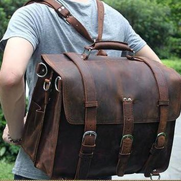 Vintage Genuine Leather Backpack Men Crazy Horse Leather Backpack Shoulder Bag Men Overnight Rucksack Tote Luggage & Travel Bags