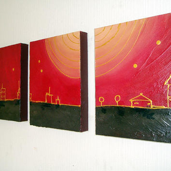 triptych painting original abstract affordable wall art wall hanging canvas 3 panel three panel city of gold black el dorado art 36 x 16 ""