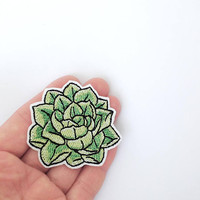 Succulent patch iron on Echeveria Cute patches for jackets Succulent lover patch Cactus lover Succulent gift