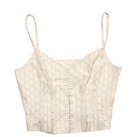 lily + jae Tops Cream Corseted Button Down Tank Top - StyleCaster