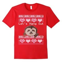 Ugly Valentines Day Sweater Sloth Let's Hang Out T-Shirt