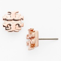 Women's Tory Burch Small Logo Stud Earrings - Rose Gold
