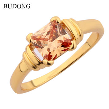 2016 Fashion Women Finger Rings 24K Gold Plated Ring Vintage Princess CZ Zirconia November Birthstone Topaz Wedding Jewelry R006