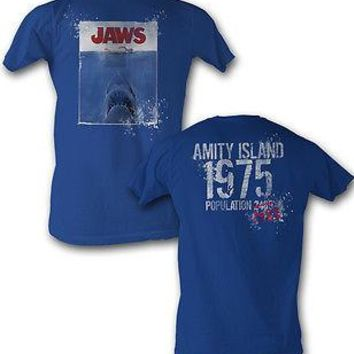 Jaws Logo 1975 Amity Island Movie Licensed Cotton Adult T Shirt