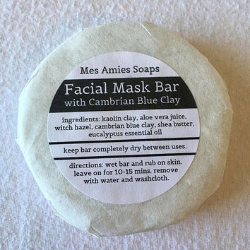 Cambrian Blue Clay Facial Mask Bar | All Natural, Vegan Skincare | Bath and Body | Handmade Gift | Mes Amies Soaps