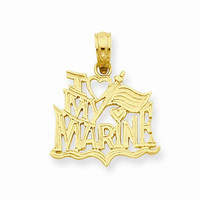 14k Gold I Love My Marine Pendant