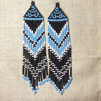Native American  Earrings  Inspired. White Blue Black  Earrings. Dangle  Earrings.Long Earrings.  Beadwork.