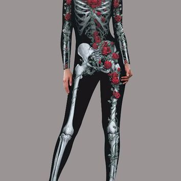 Black Skull Band Collar Long Sleeve High Waisted Halloween Long Jumpsuit