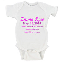 Custom Baby Girl Birth Announcement Gerber Onesuit ® Christmas Gift